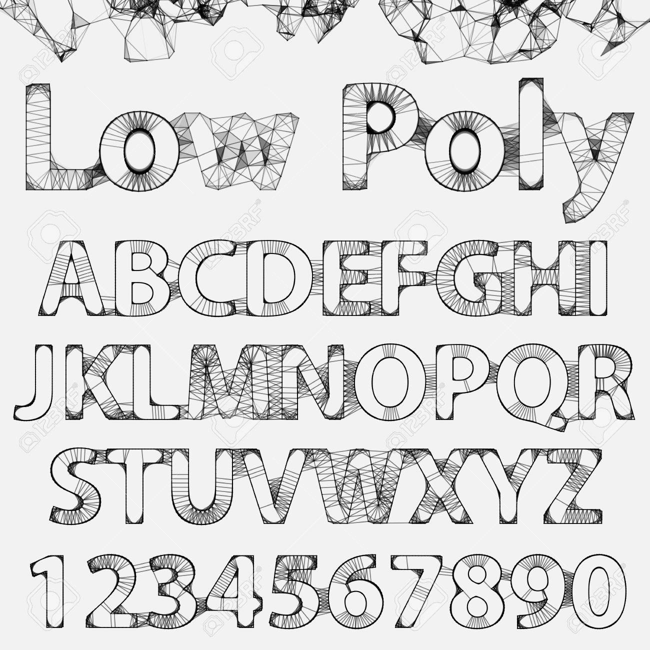 Lowpoly Outline Fonts And Numbers. Elegance Typographic Alphabet