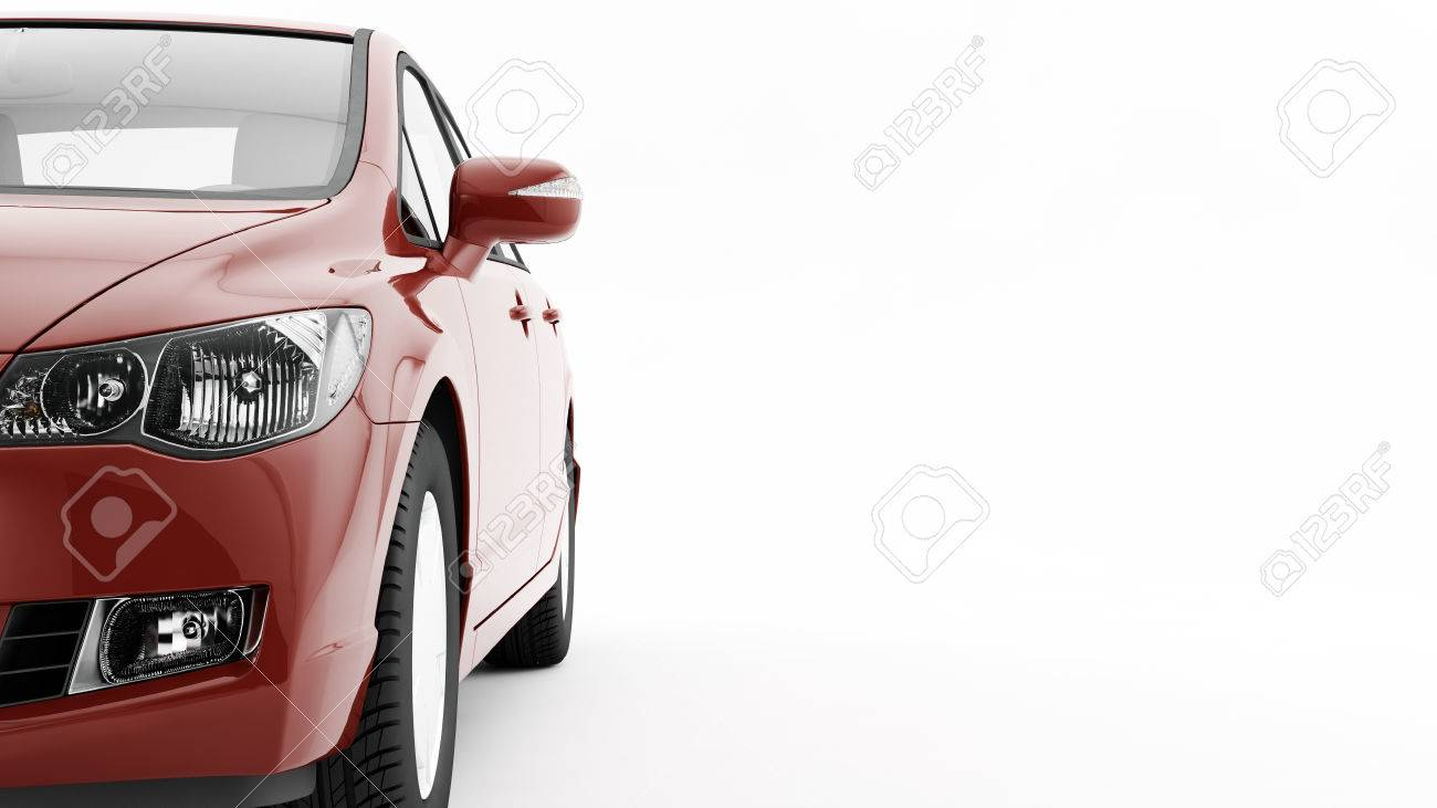 New CG 3d render of generic luxury detail red sports car driving illustration isolated on a white background. Mockup with stylized noise effects - 53691073