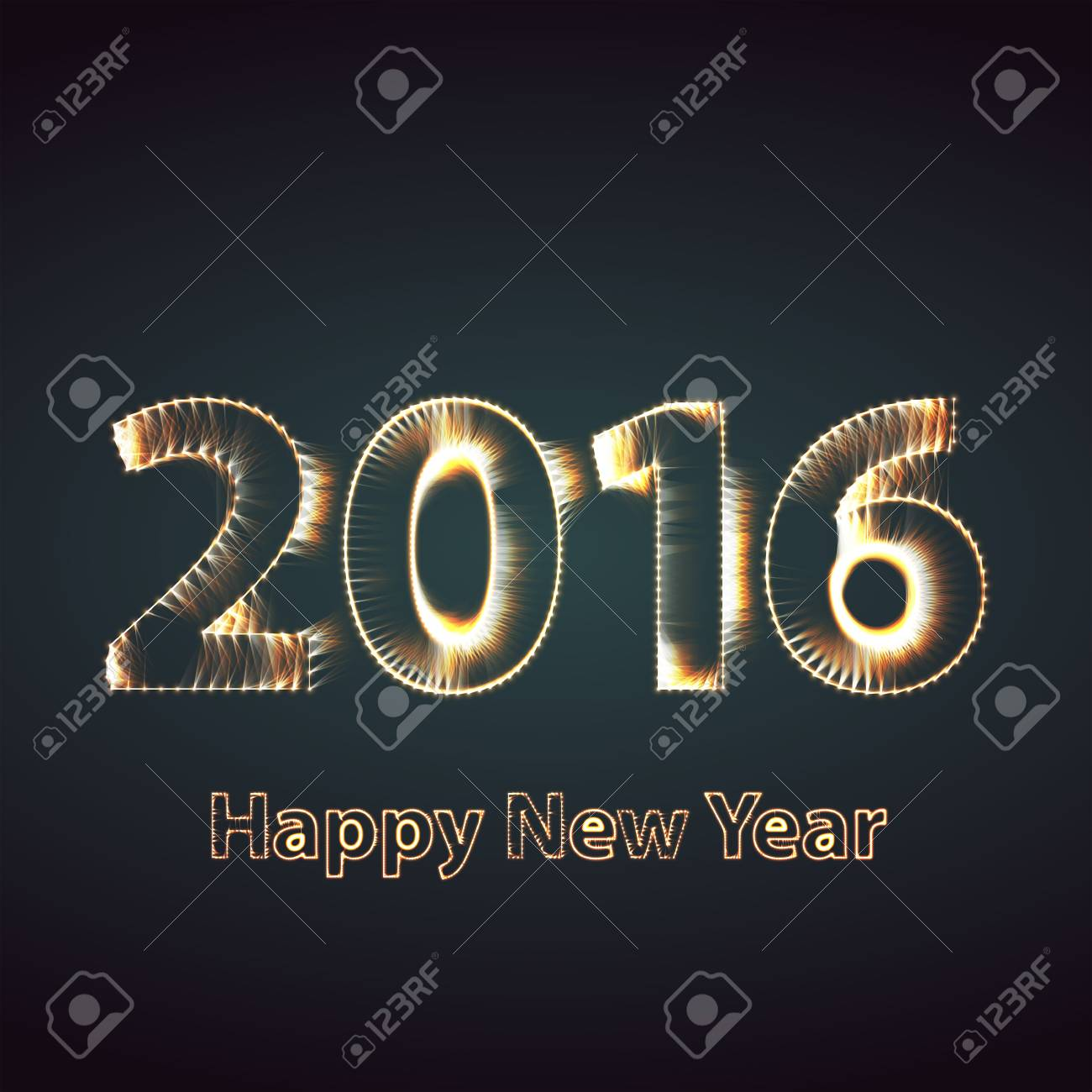 Happy New Year 2016 Creative Greeting Card Royalty Free Cliparts