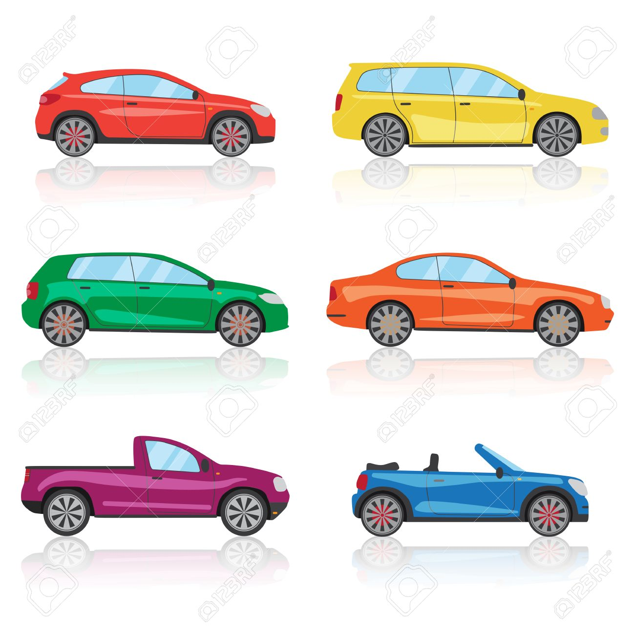 Cars icons set. 6 different colorful 3d sports car icon. Car vector EPS10 - 58300248