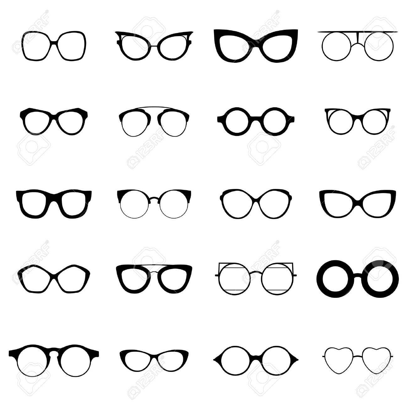 Collection of various glasses. To be worn by women, men and children. Eye glasses set. Vector illustration EPS 10 - 58299824