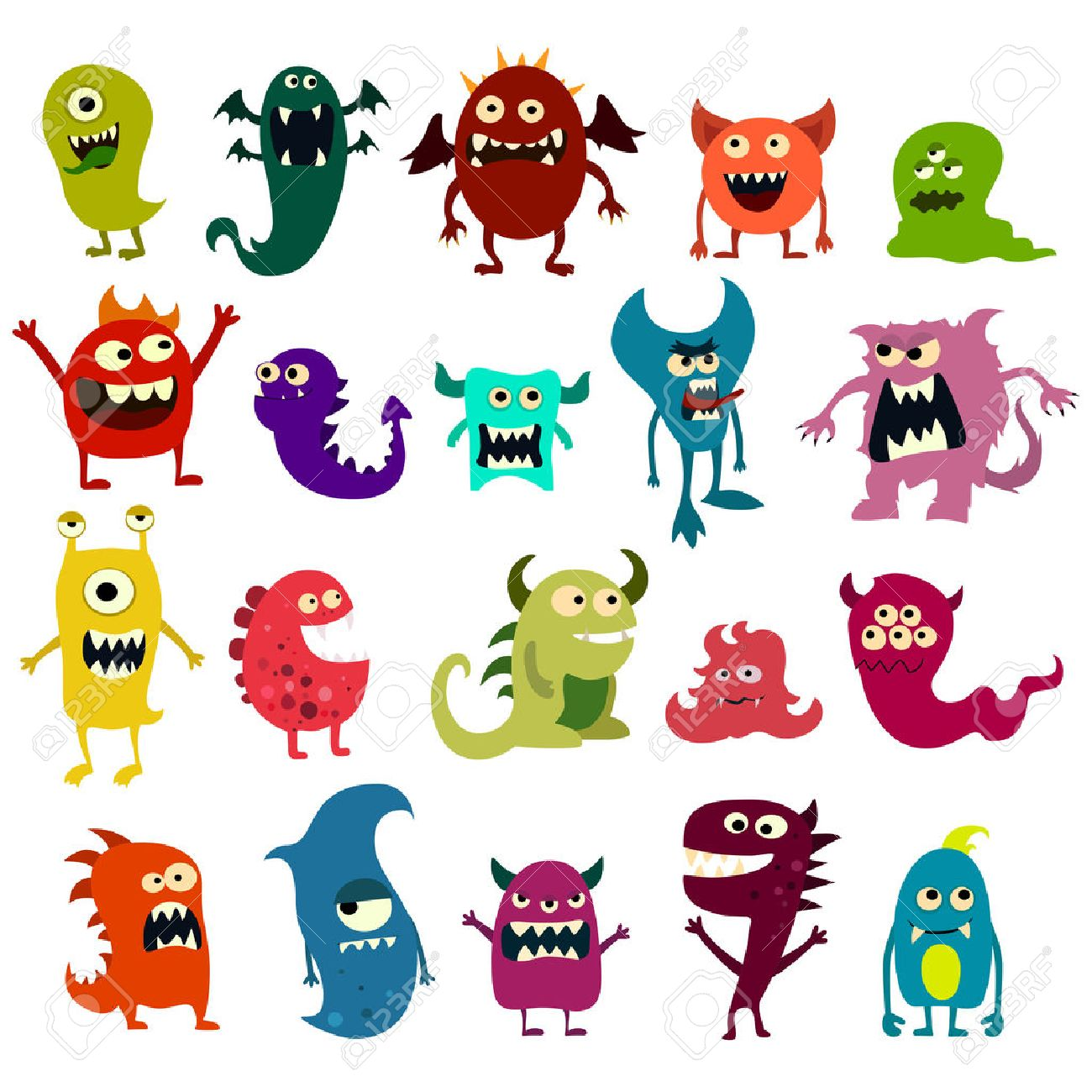 cartoon monsters set colorful toy cute monster vector eps 10