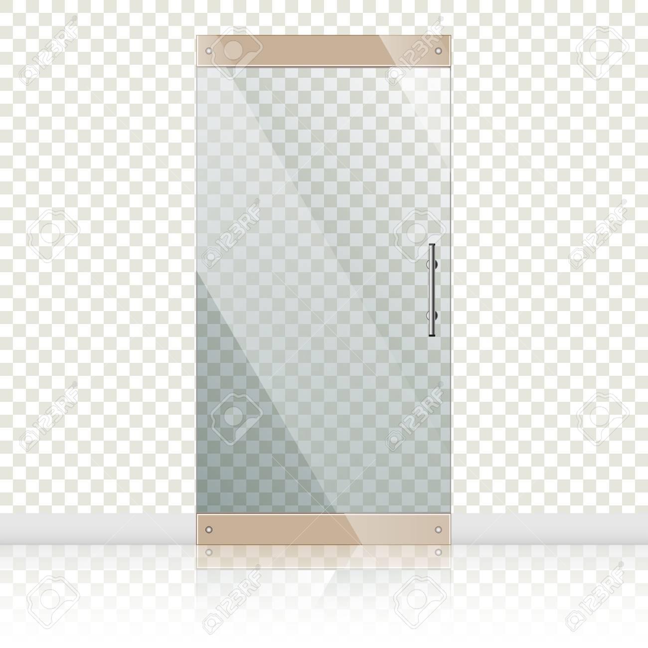 Vector Transparent Glastüren Mit Spiegelbild In Stahlrahmen Auf ...
