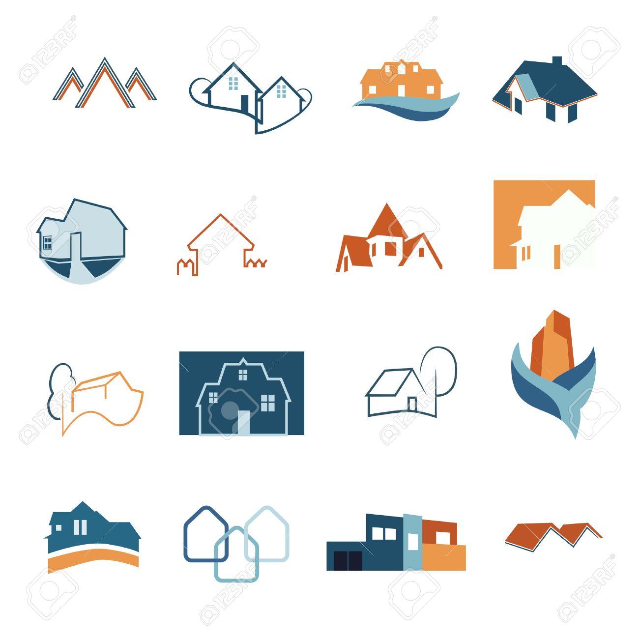 Real Estate web icons set. House logos. Construction logo. Vector - 58521277