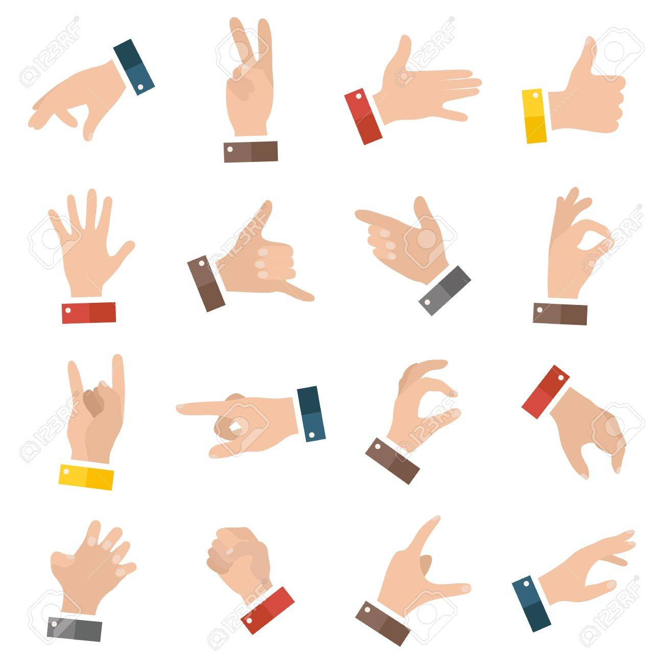 Open empty hands showing different gestures. 16 icons set isolated. Vector hand illustration - 58520860