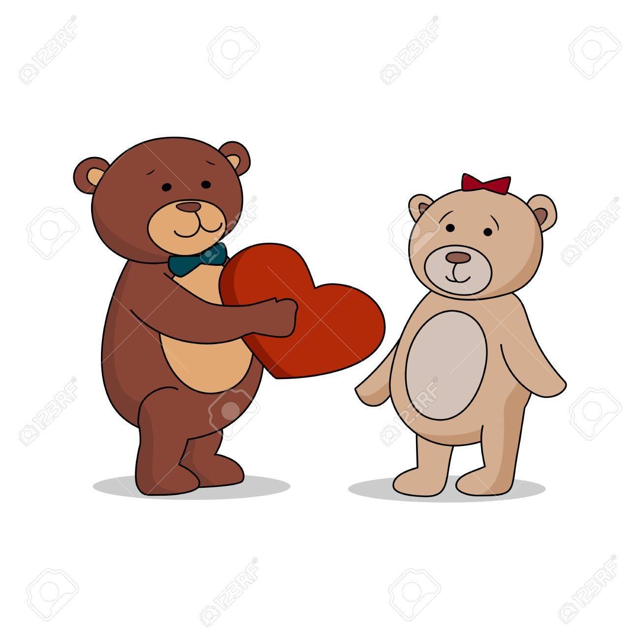 Amanti Paio Di Orsacchiotti Con Il Cuore In Mano Orso Dà Un Cuore