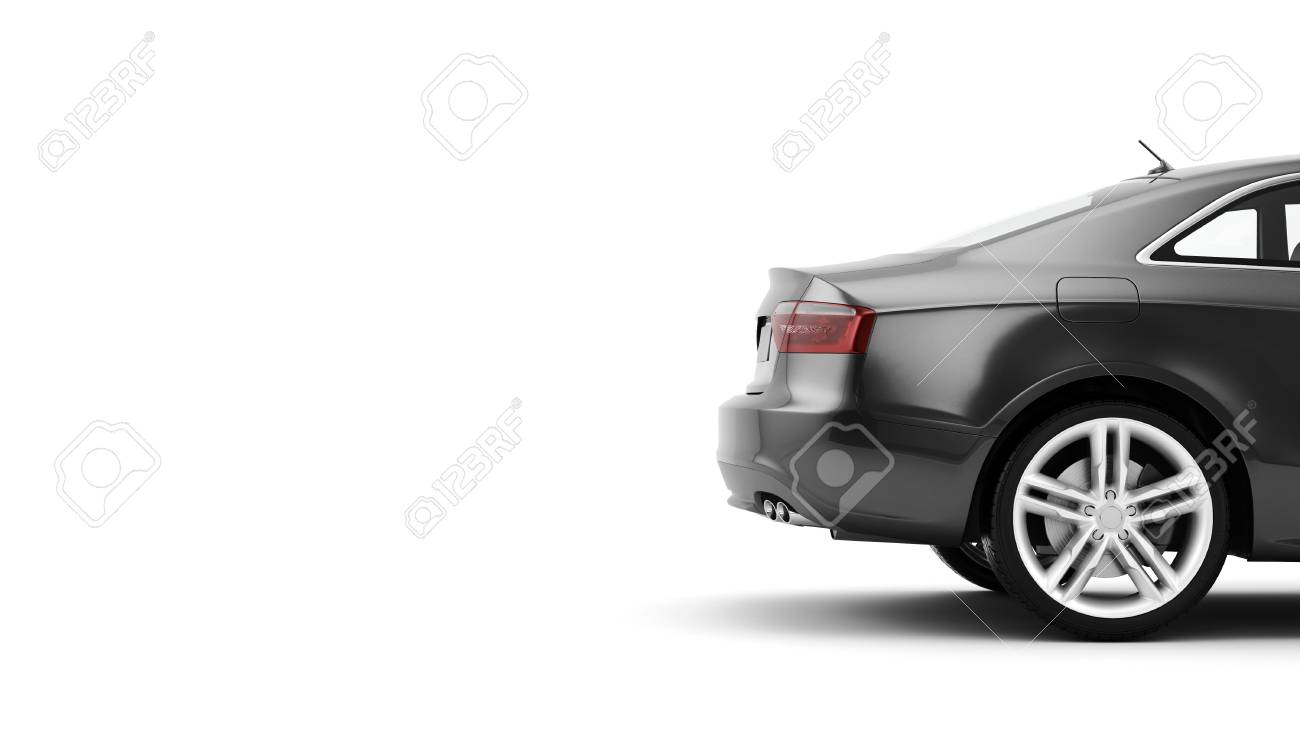 New CG 3d render of generic luxury detail sports car driving illustration isolated on a white background. Mockup with stylized noise effects - 66371594