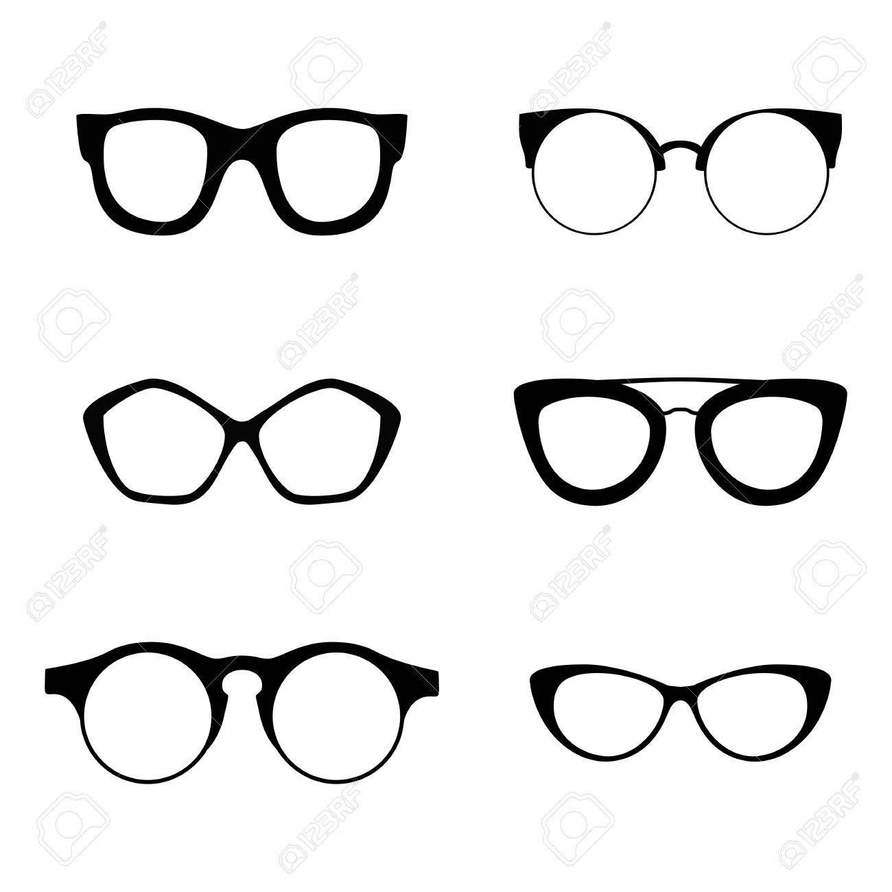 Colección de retro 6 diversos vasos. Gafas de sol negras siluetas. anteojos  establecen. 3d501ef87163