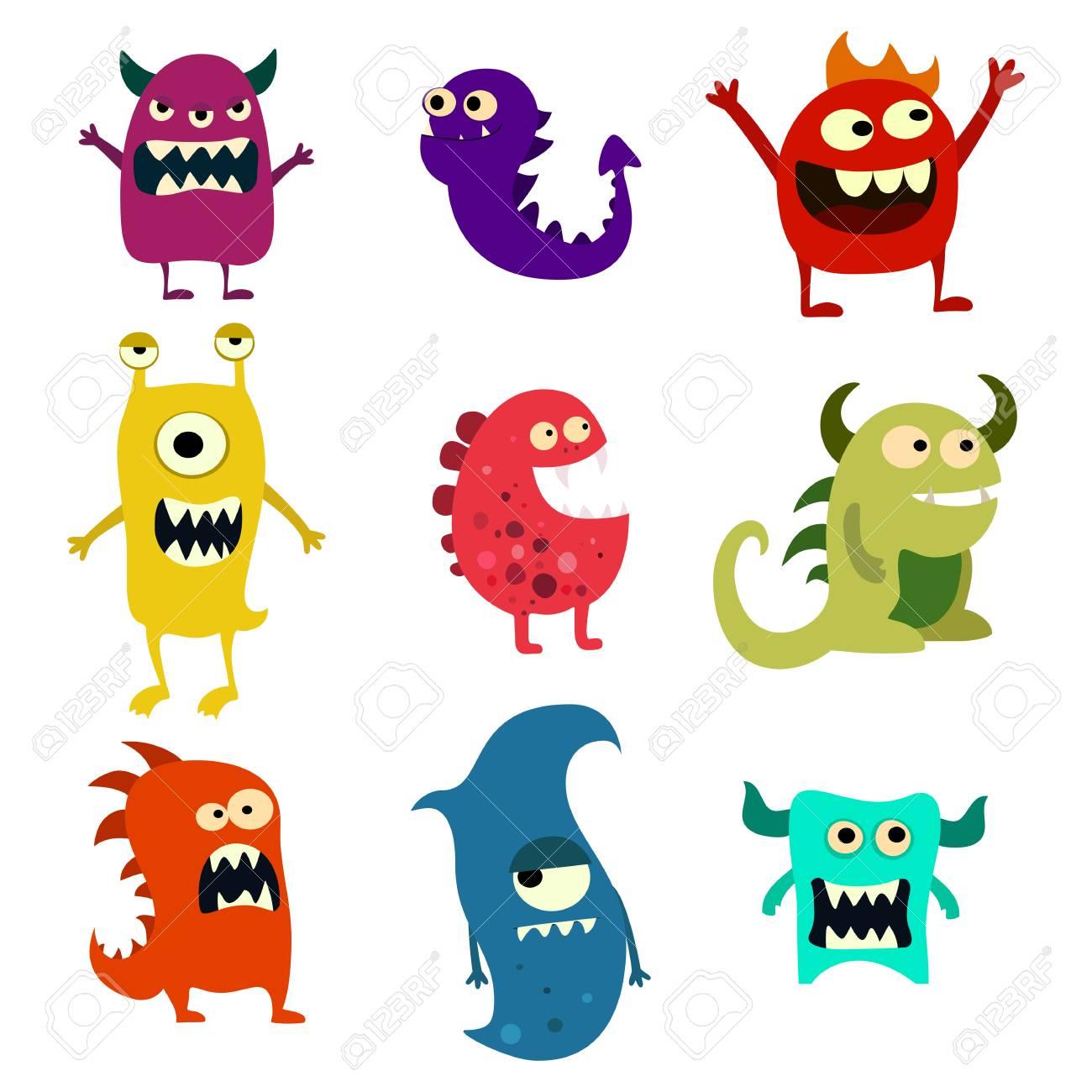 Doodle monsters set. Colorful toy cute alien monster. Vector EPS 10 - 66867023