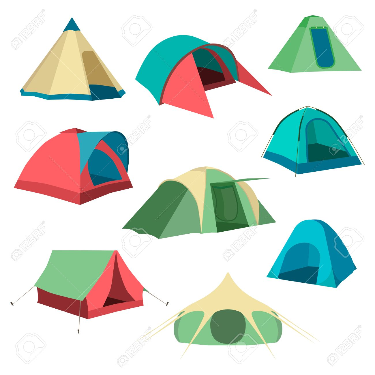 Set of tourist tents. Collection of camping tent icons. Vector illustration eps10 - 67575942