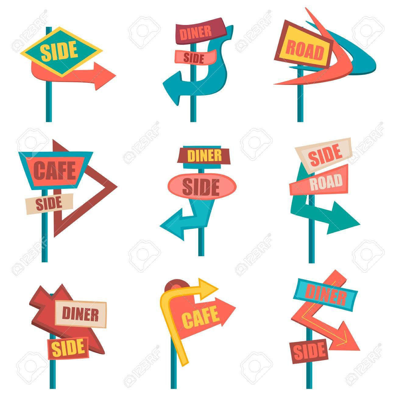 Retro road signs. Vintage billboard set. Vector illustration - 68363393