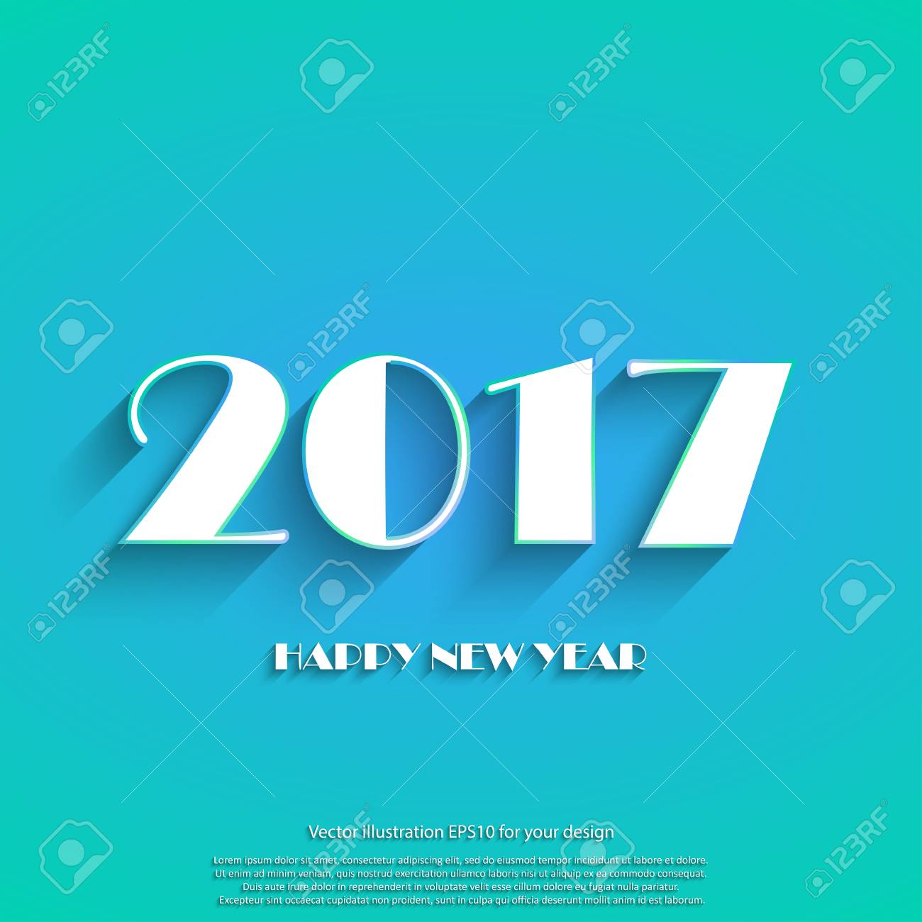 Happy New Year 2017 White Text On Blue Background Template Holidays