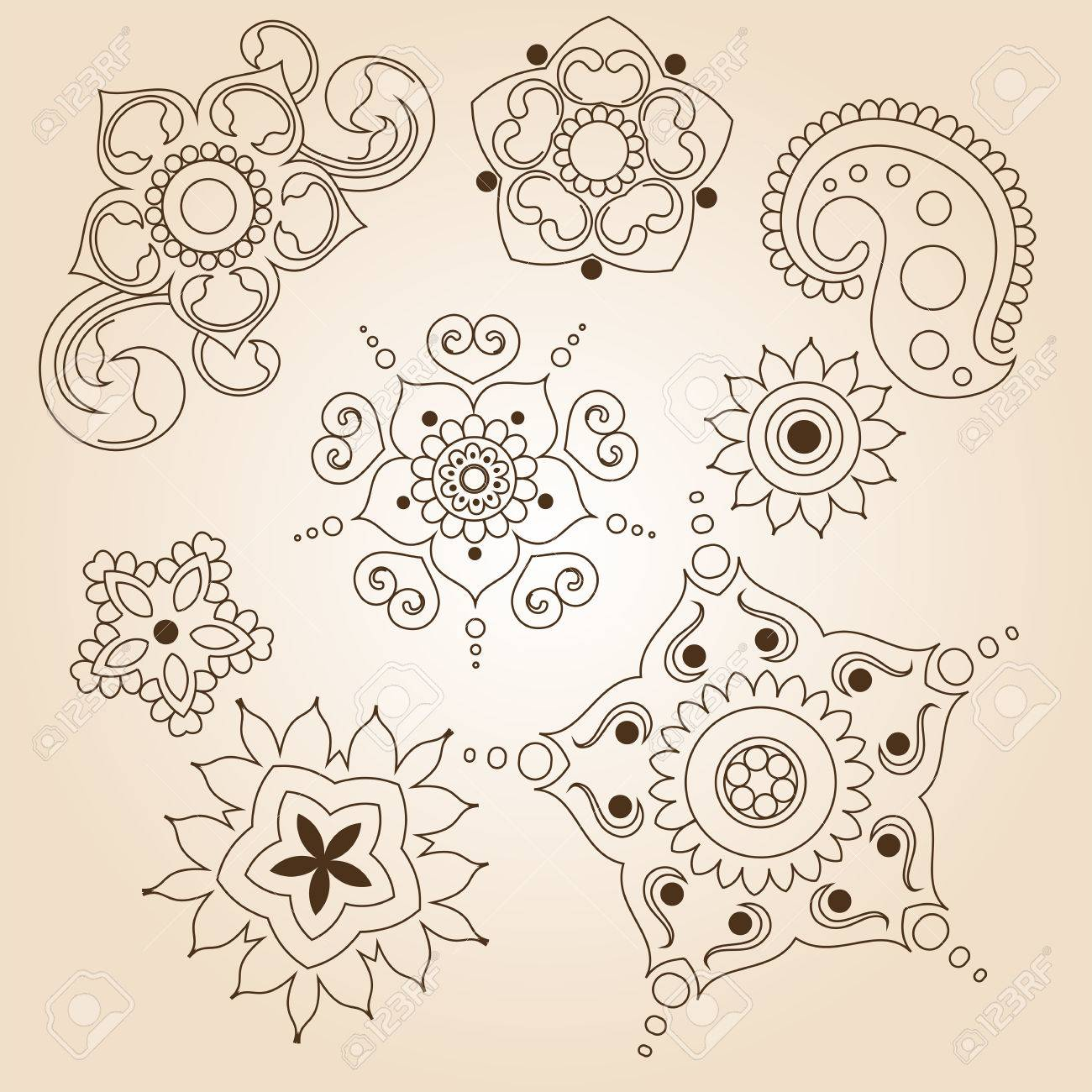 Henna Tattoo Doodle Set Mehndi Linear Elements On Brown Background