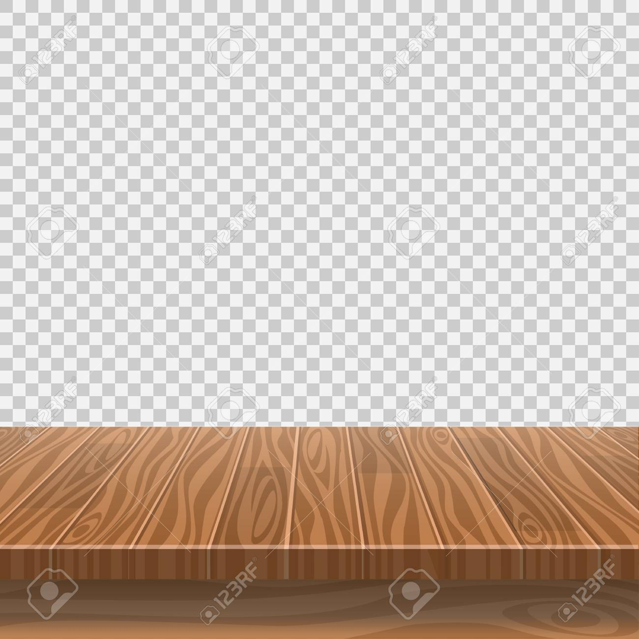 Empty wooden table for product placement or montage with focus to the table top, with isolated white background. Vector illustration - 126304073