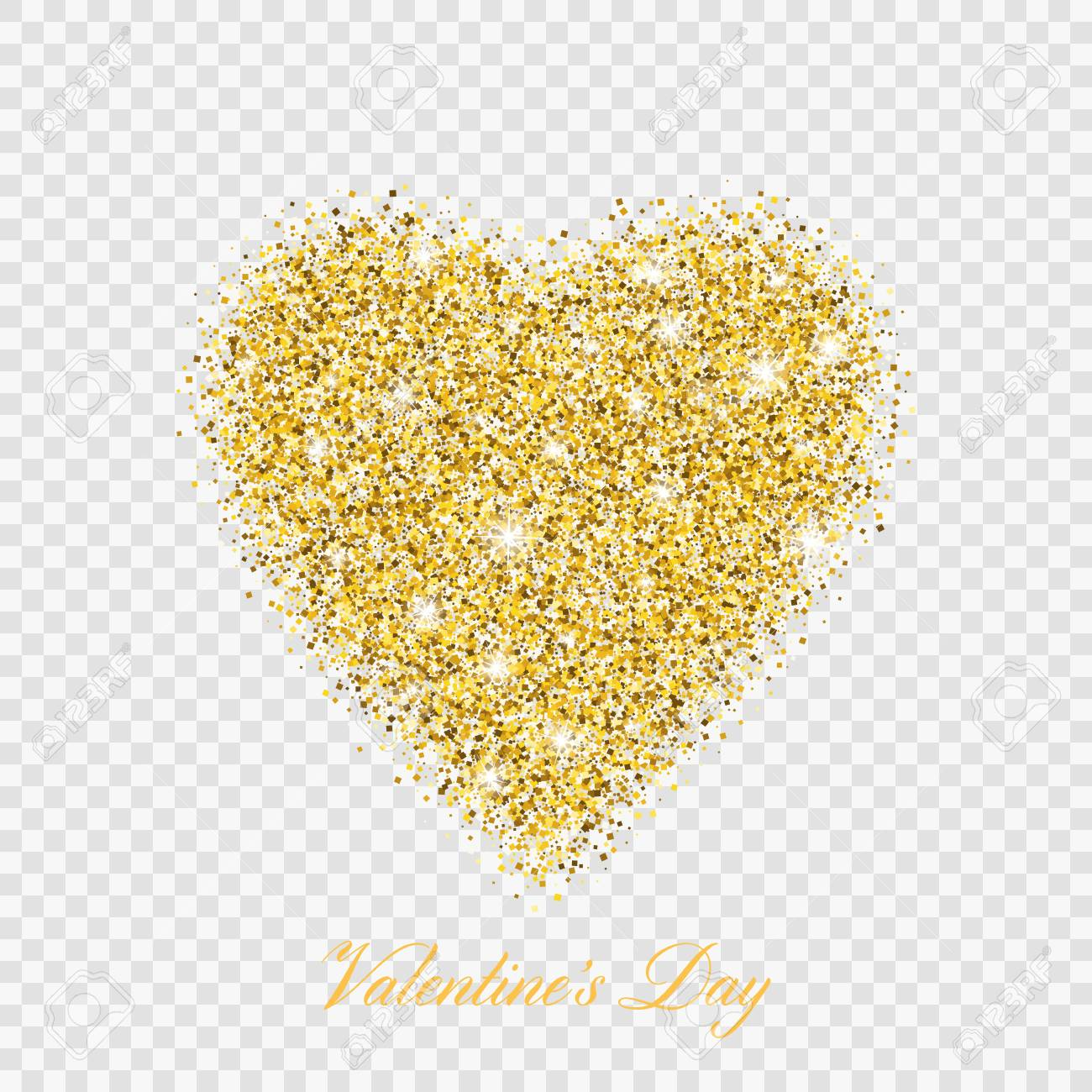 Valentine day gold glitter shiny heart. Vector illustration love heart symbol isolated on transparent background - 126055305