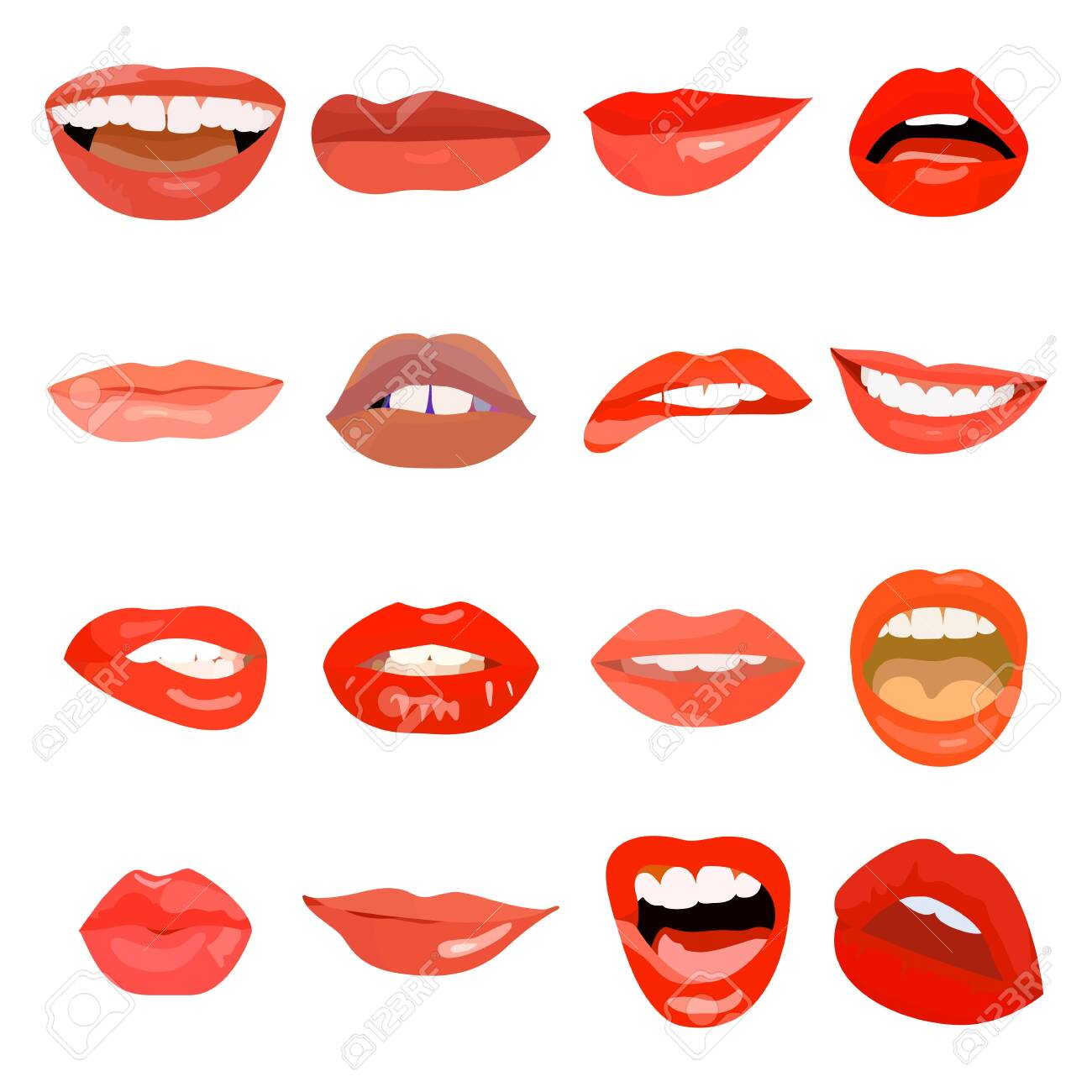 Female lips set on sweet passion. Lip design element makeup mouth. Vector print cosmetic sensuality desire tongue out. Smile woman red doodle lips - 129794235
