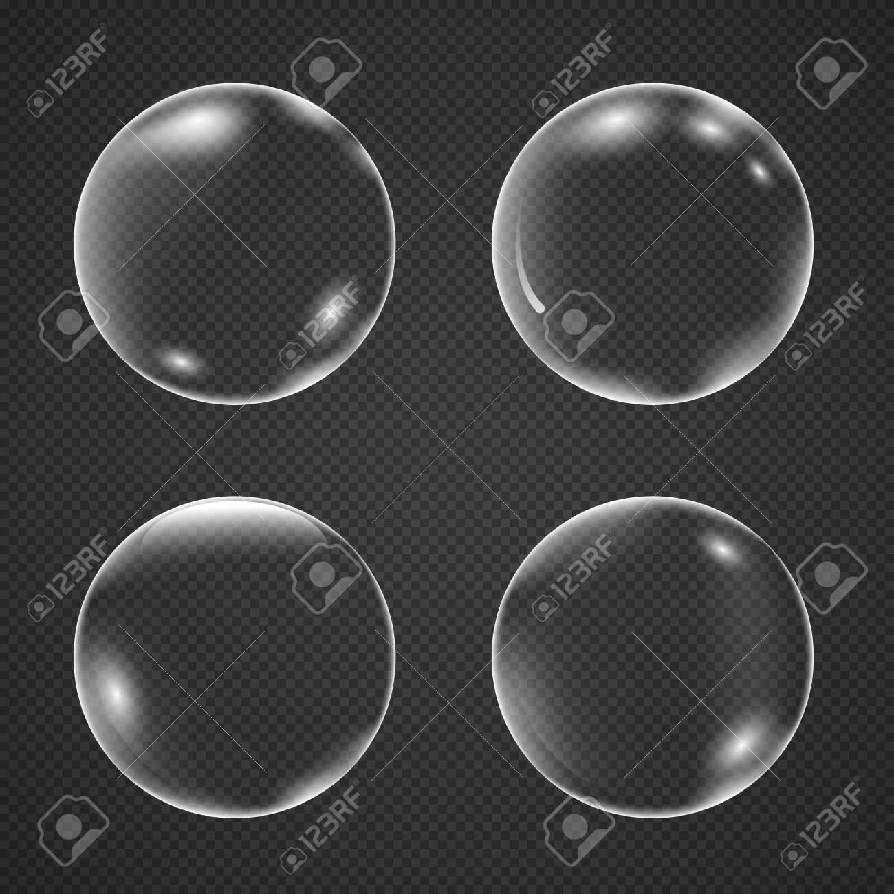 Realistic white air bubbles with reflection isolated on a transparent background. Champagne fizzy on black closeup. Vector illustration underwater bubble - 136411662