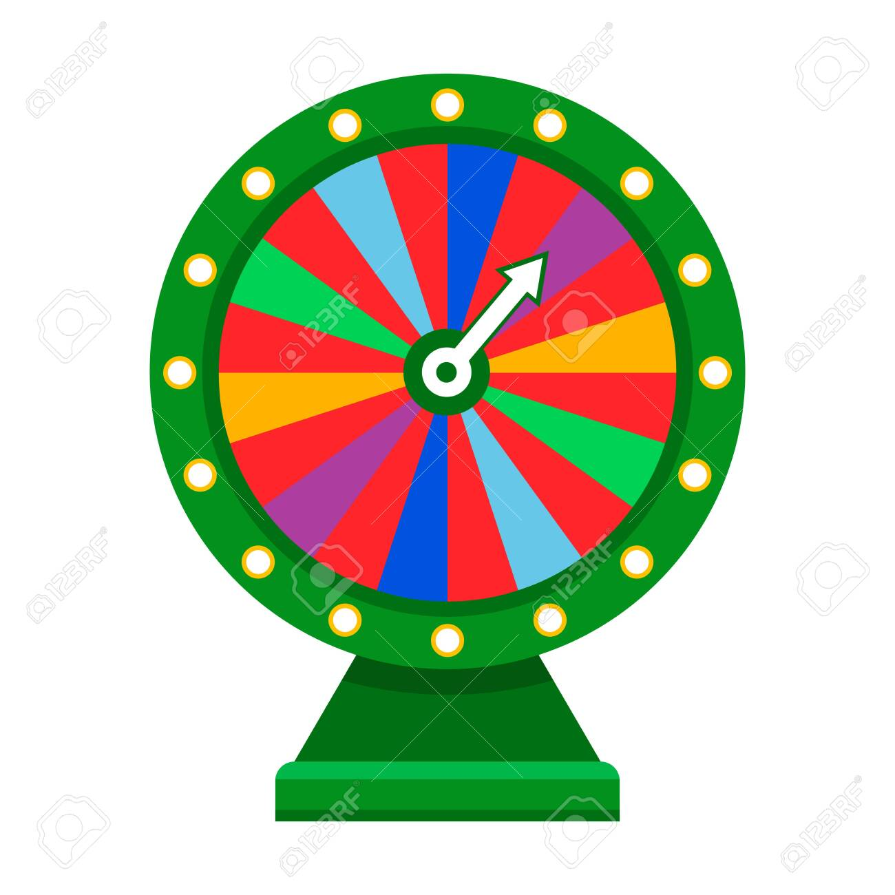 Cartoon wheel fortune lottery design element. Spinning lucky fortune isolated on white. Vector illustration - 141032660