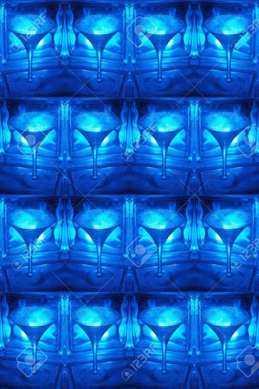 Coole Blaue Muster Martini Glas Glas Blöcke Mit Jack Frost
