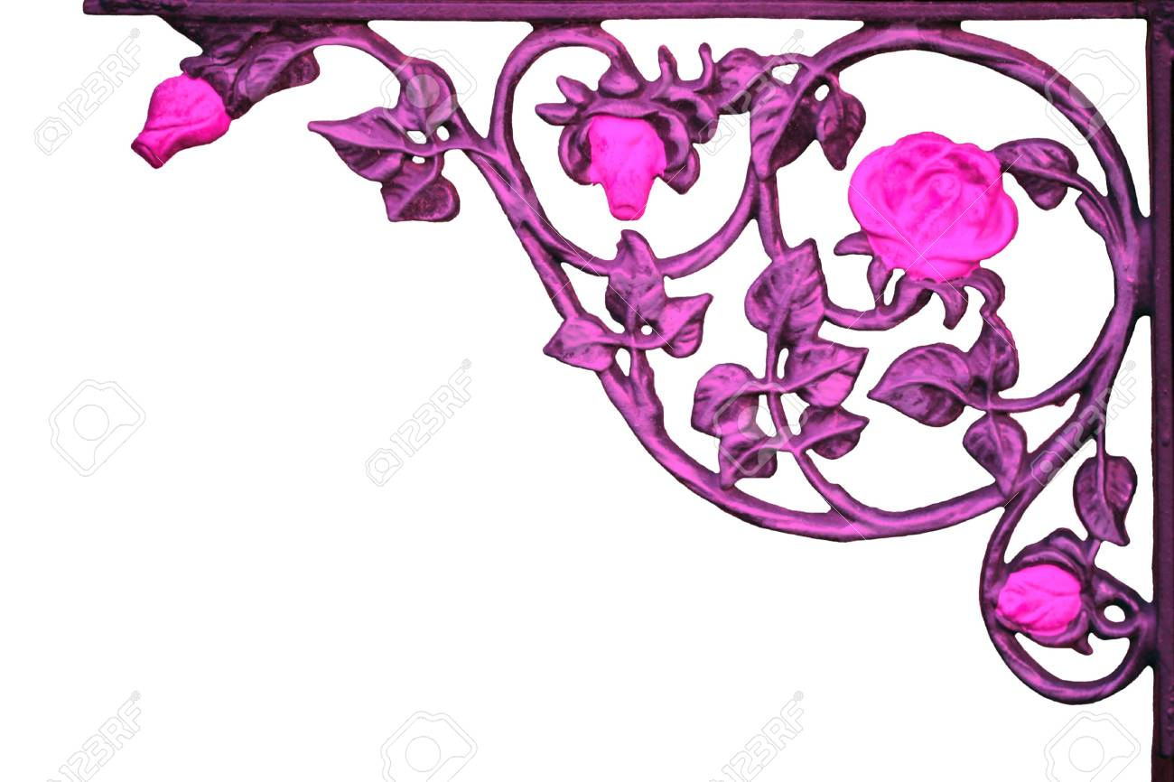 Old Rose Vine Wrought Iron Bracket Stock Photo Picture And