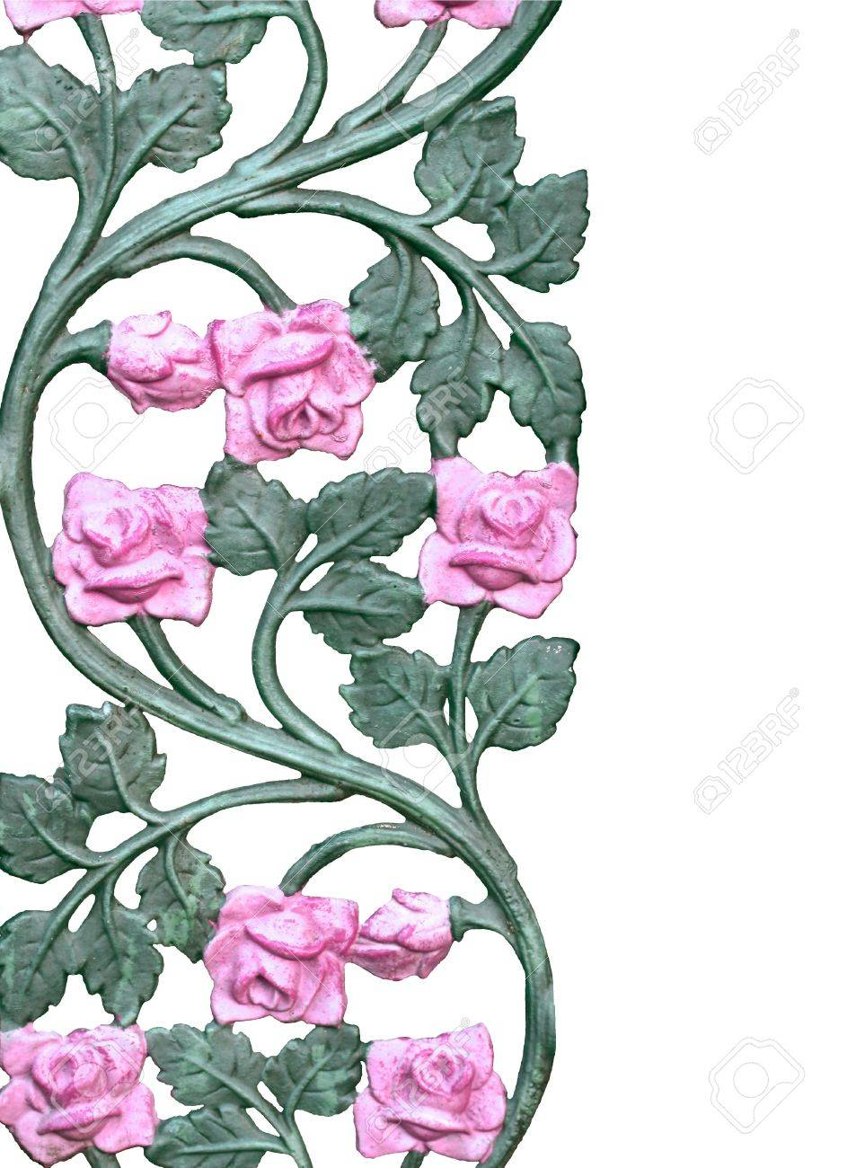 Old Wrought Iron Pink Rose Vine Stock Photo Picture And Royalty