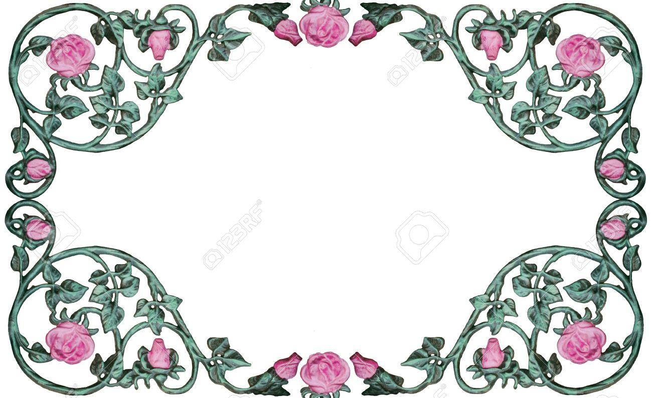 Vintage Wrought Iron Rose Vine Design As Border Frame Stock Photo
