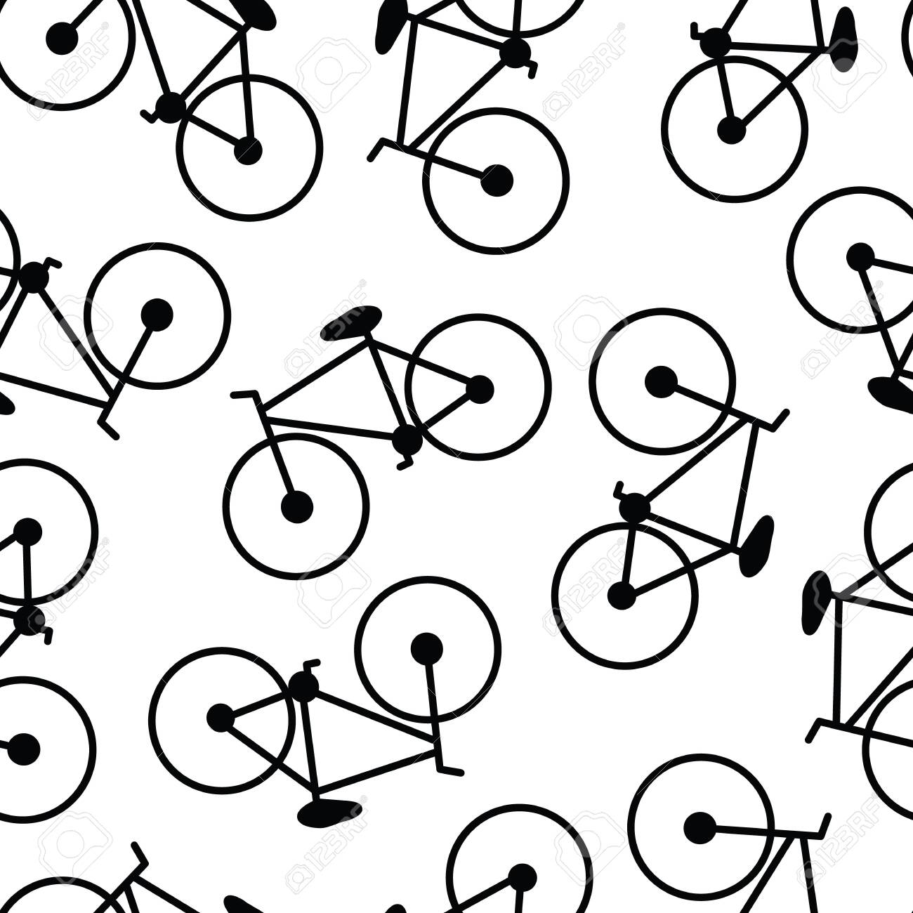 Vector Black Bikes Bicycles on White Background Seamless Repeat Pattern - 130481880