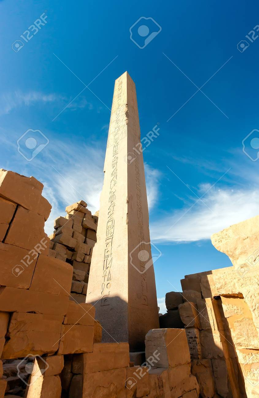 A large towering Obelisk in the ancient Karnak Temple site in Luxor, Egypt Stock Photo - 17249800