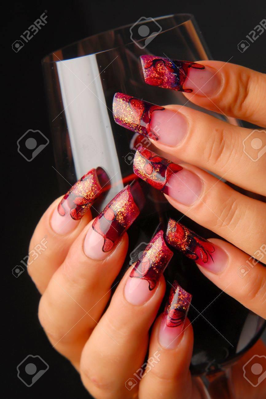 manicures beautiful pattern on nails Stock Photo - 15850525