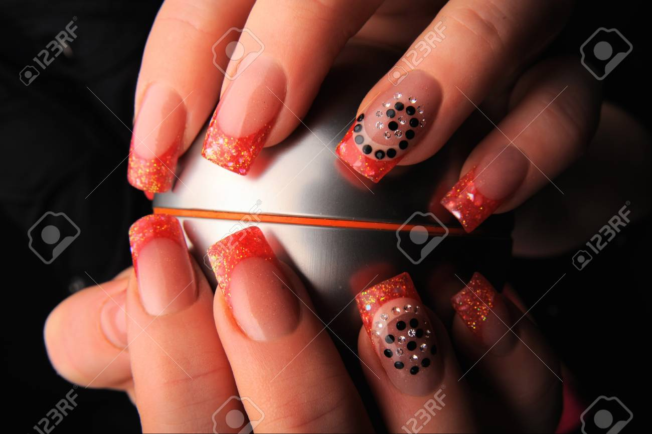 manicures beautiful pattern on nails Stock Photo - 16763886