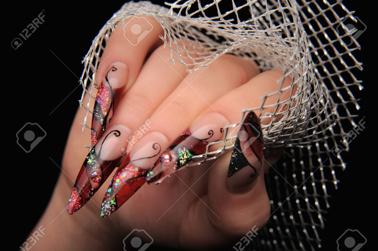 manicures beautiful pattern on nails Stock Photo - 16763891