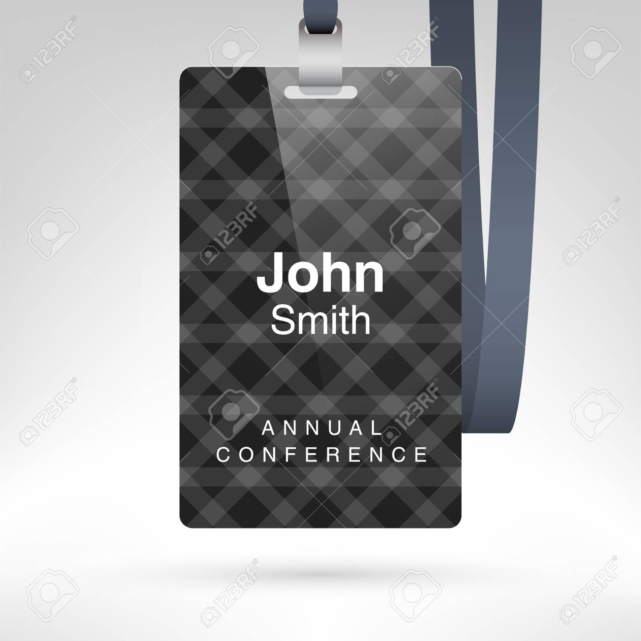 Conference Badge With Name Tag Placeholder. Blank Badge Template ...