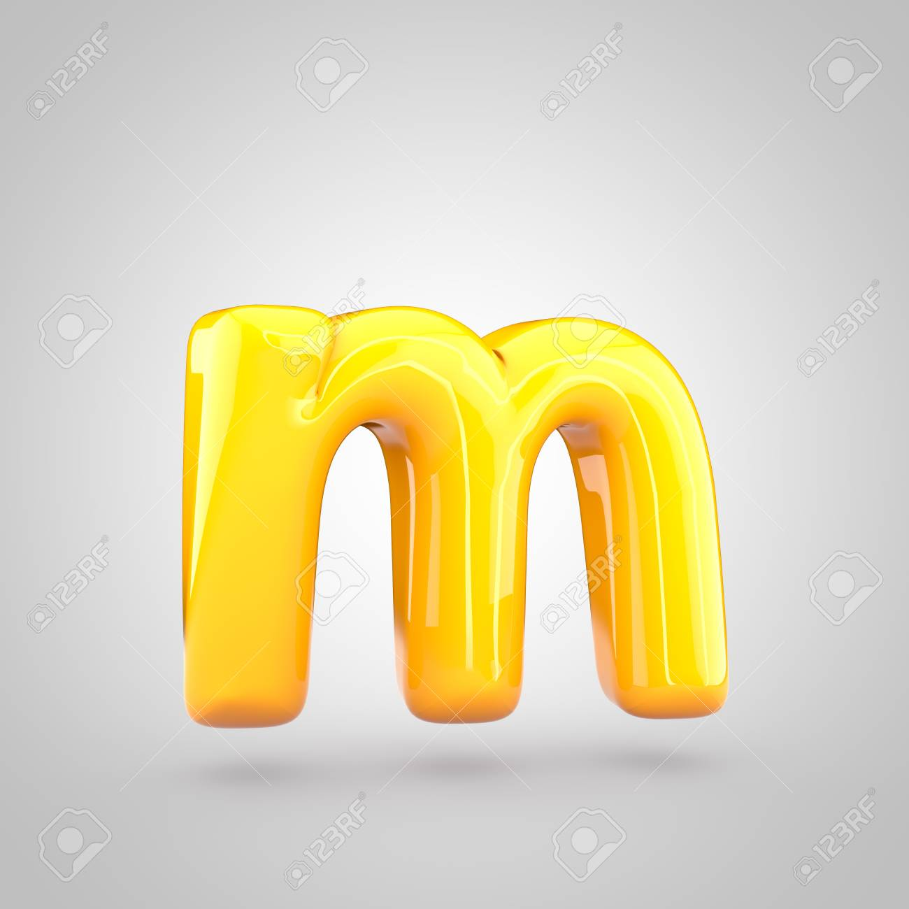 glossy yellow paint letter m lowercase 3d render of bubble twisted font with glint and