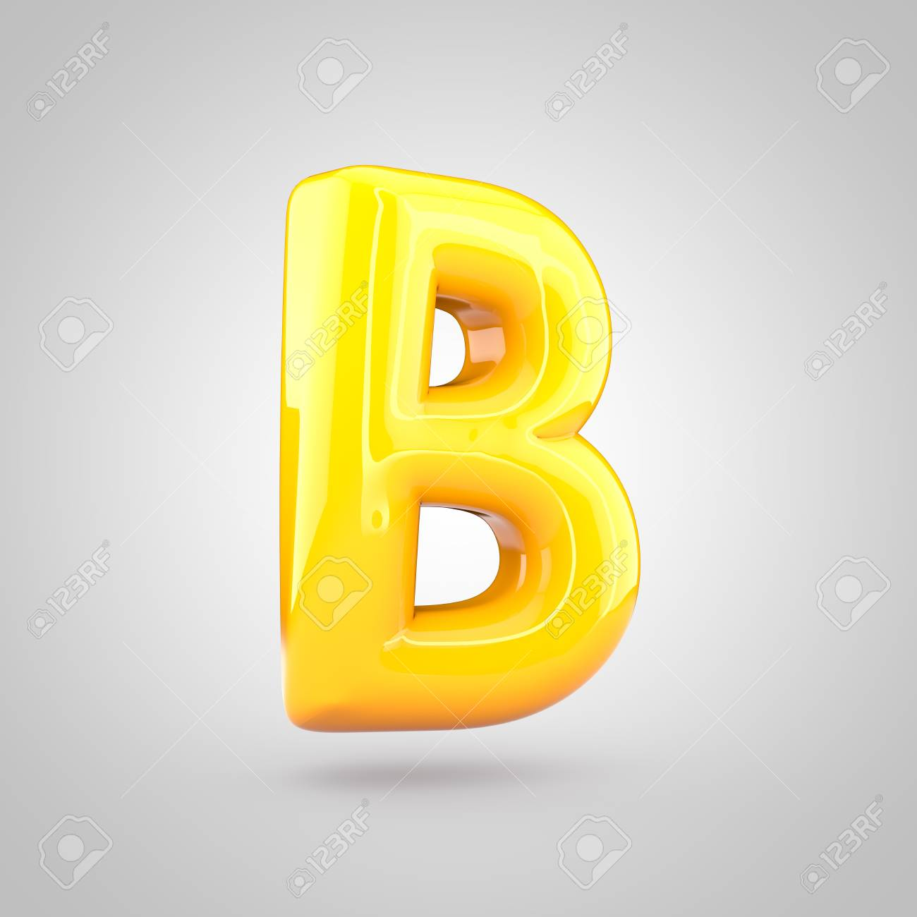 glossy yellow paint letter b uppercase 3d render of bubble twisted font with glint and