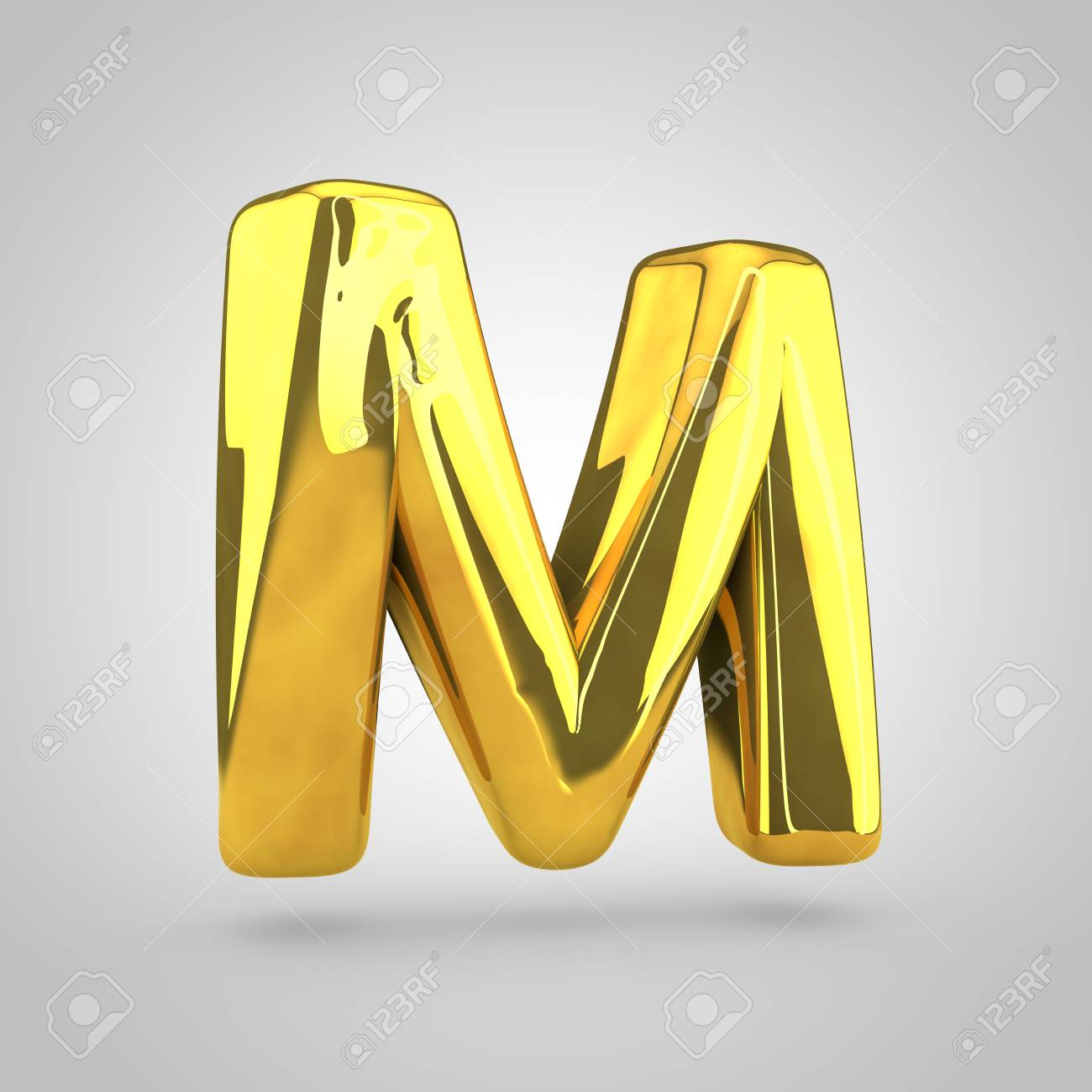 0d88faf8551f7 ... Golden letter M uppercase. 3D rendering of golden twisted font isolated  on white background.