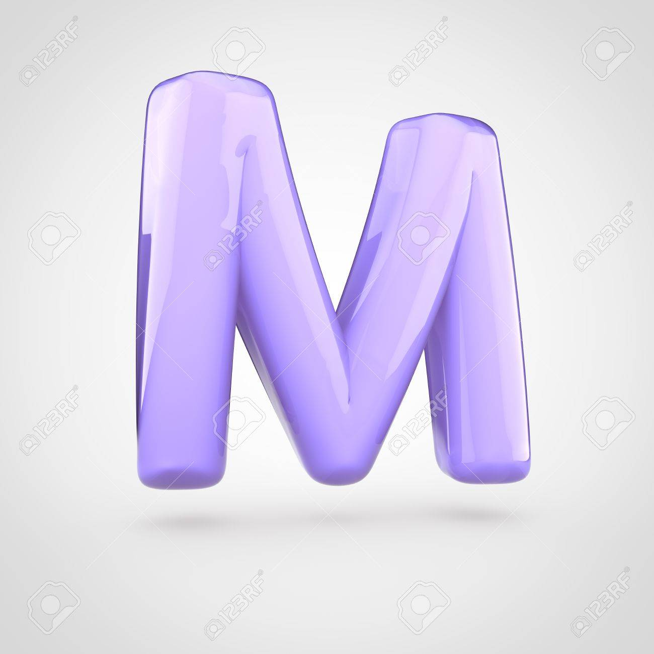 glossy violet paint letter m uppercase 3d render of bubble twisted font with glint isolated