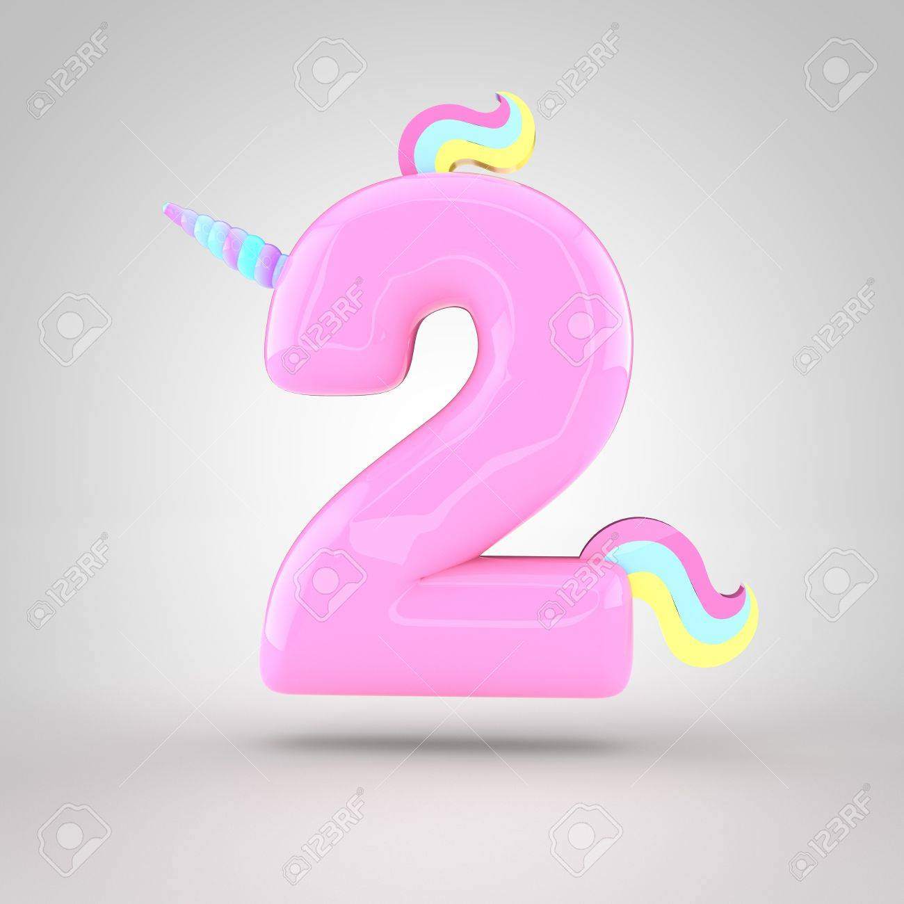 Cute Unicorn Pink Number 2 With Different Colors Horn Mane And Stock Photo Picture And Royalty Free Image Image 75892214