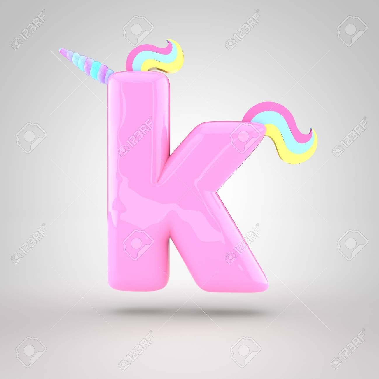 cute unicorn pink letter k lowercase with different colors horn