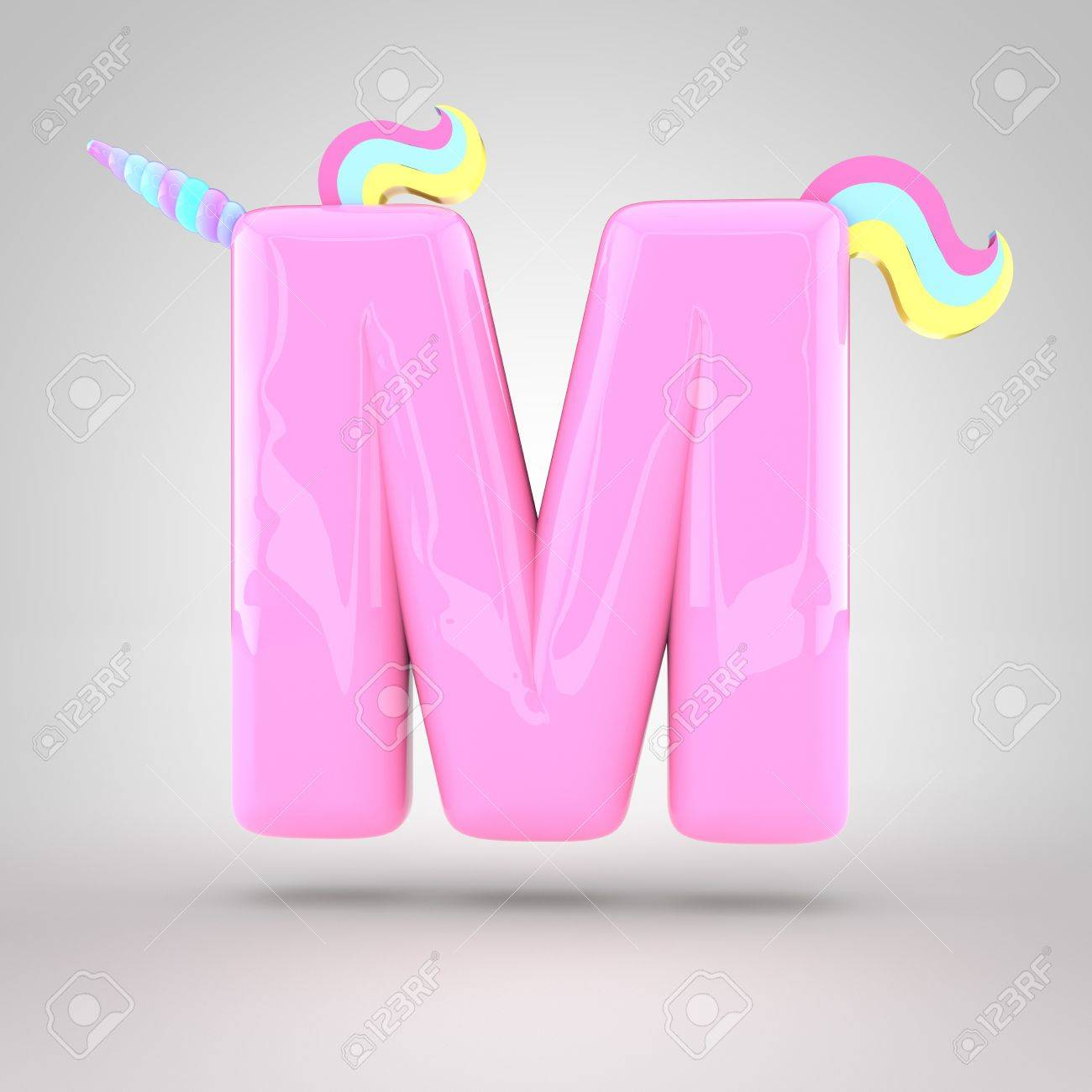 cute unicorn pink letter m uppercase with different colors horn mane and tail 3d