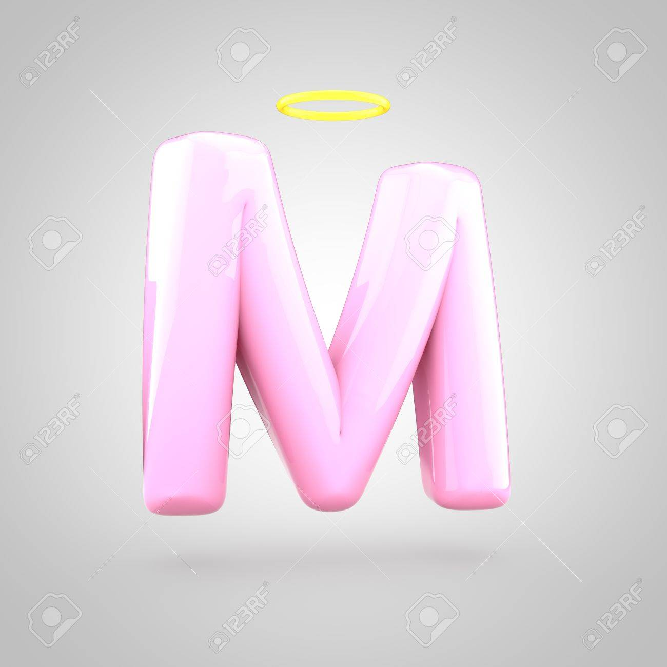 cute angelic pink letter m uppercase 3d render of bubble font with glint isolated on
