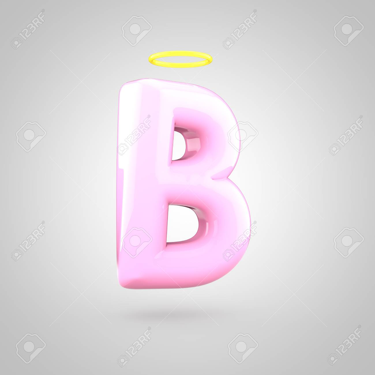 Cute Angelic Pink Letter B Uppercase 3d Render Of Bubble Font