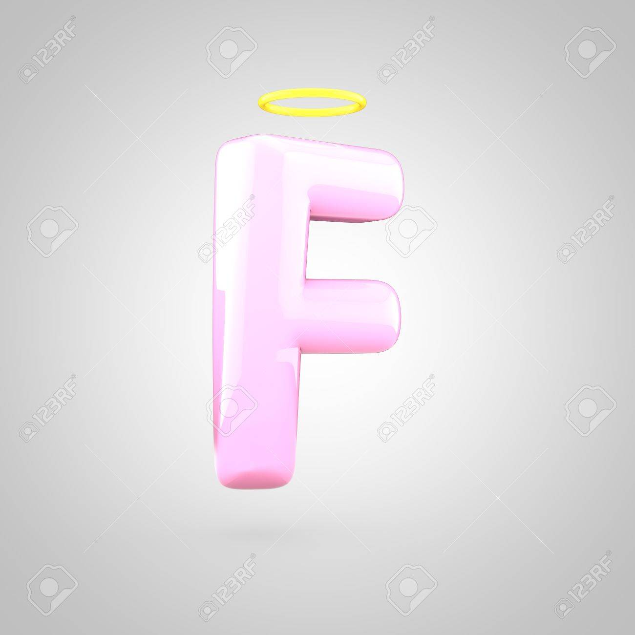 Cute Angelic Pink Letter F Uppercase 3D Render Of Bubble Font With Glint Isolated On