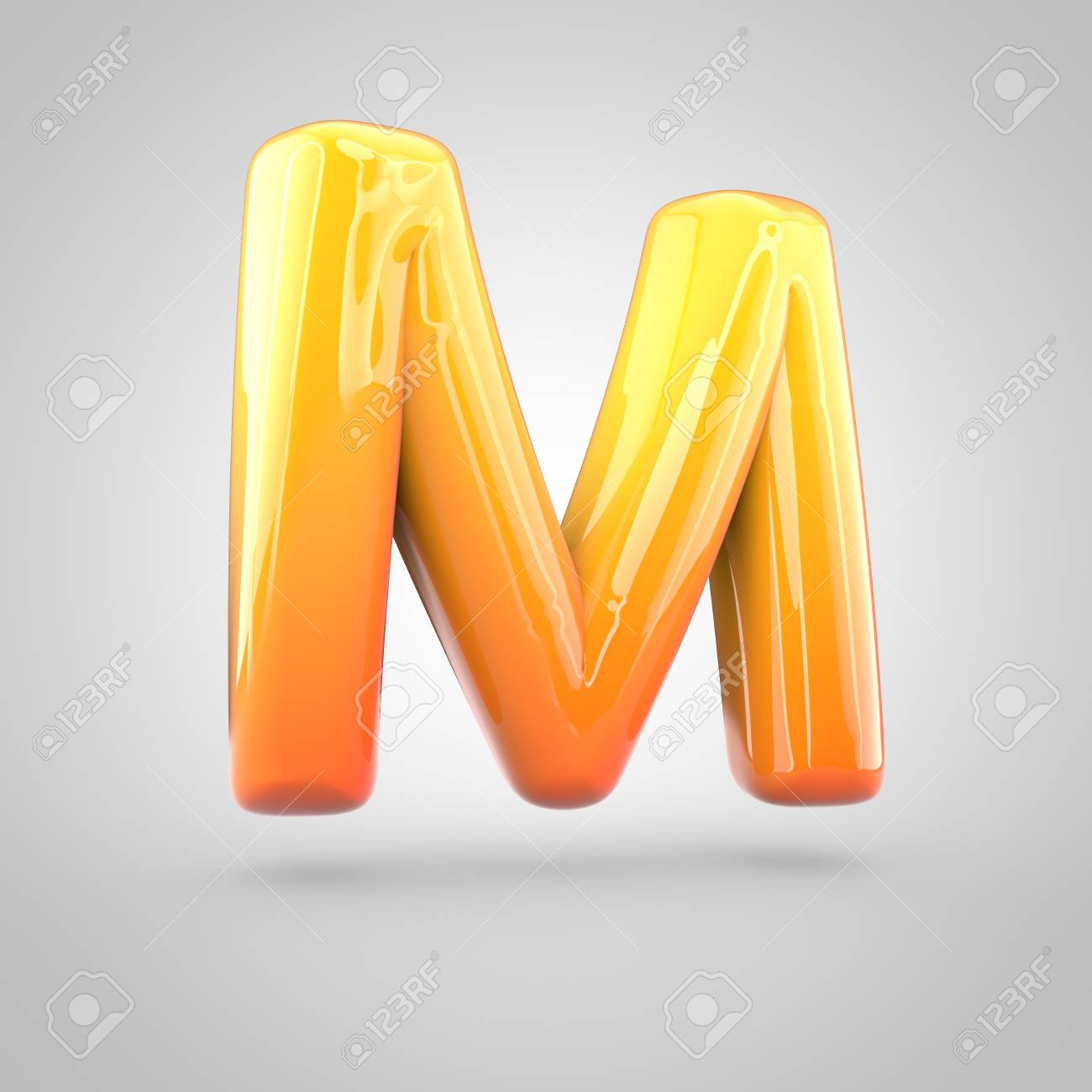 glossy orange and yellow gradient paint alphabet letter m uppercase 3d render of bubble twisted