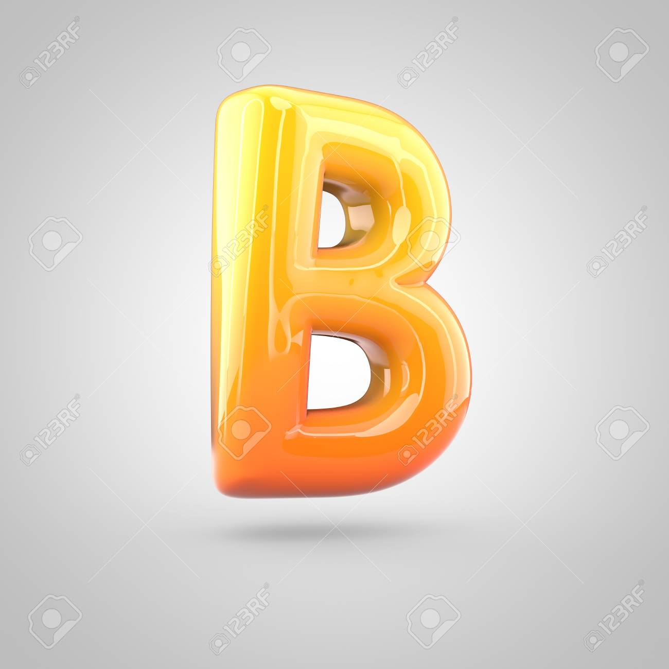 glossy orange and yellow gradient paint alphabet letter b uppercase 3d render of bubble twisted