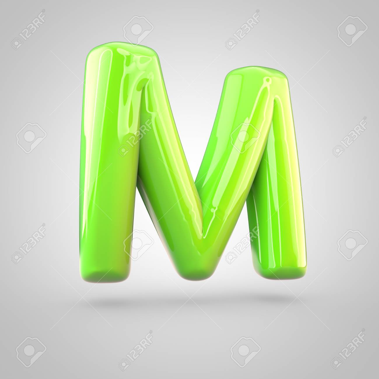glossy lime paint alphabet letter m uppercase 3d render of bubble twisted font with glint