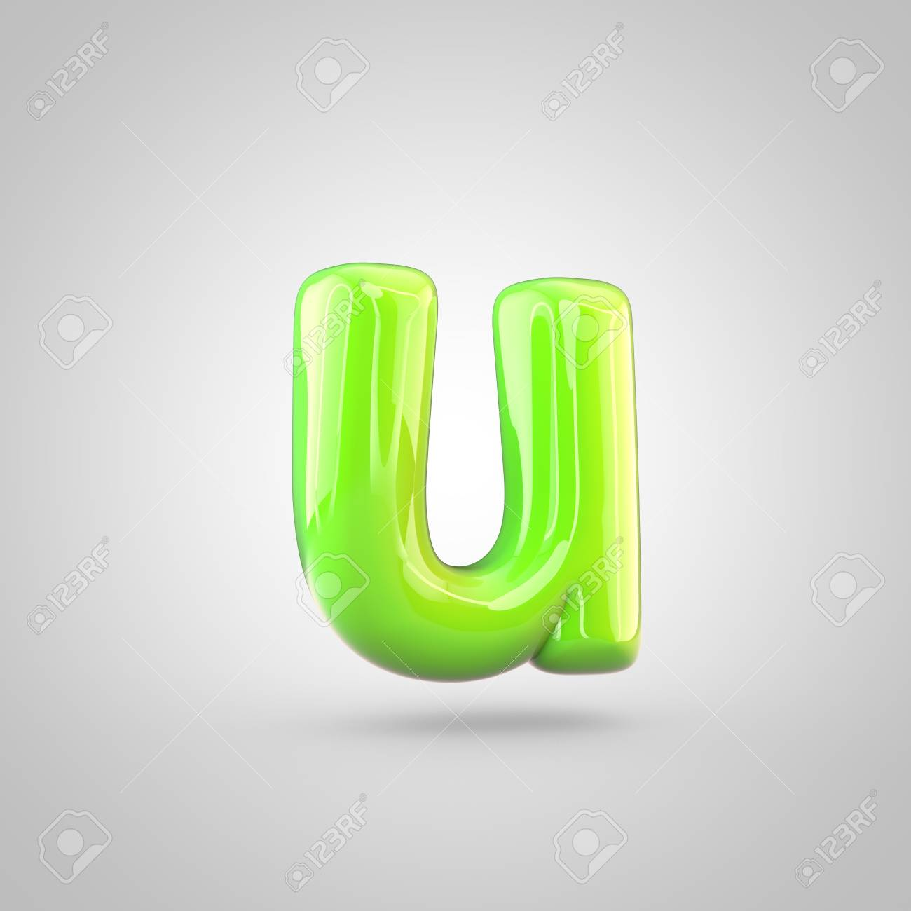 glossy lime paint alphabet letter u lowercase. 3d render of bubble