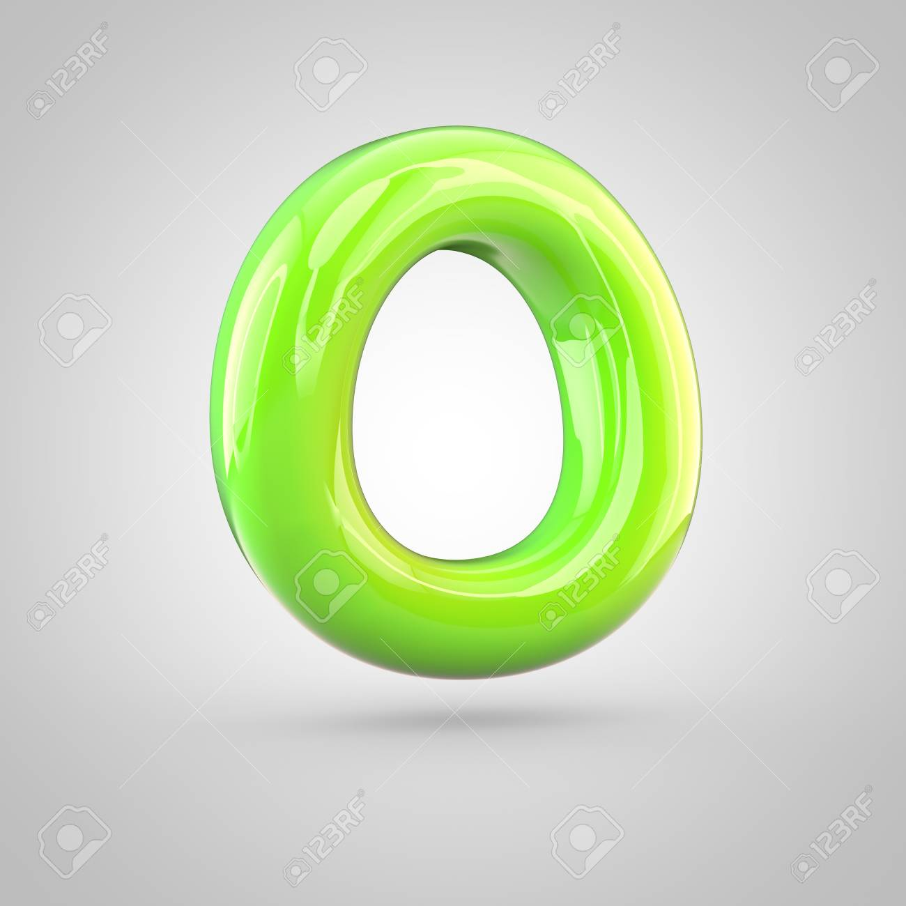 Glossy Lime Paint Alphabet Letter O Uppercase 3d Render Of Bubble