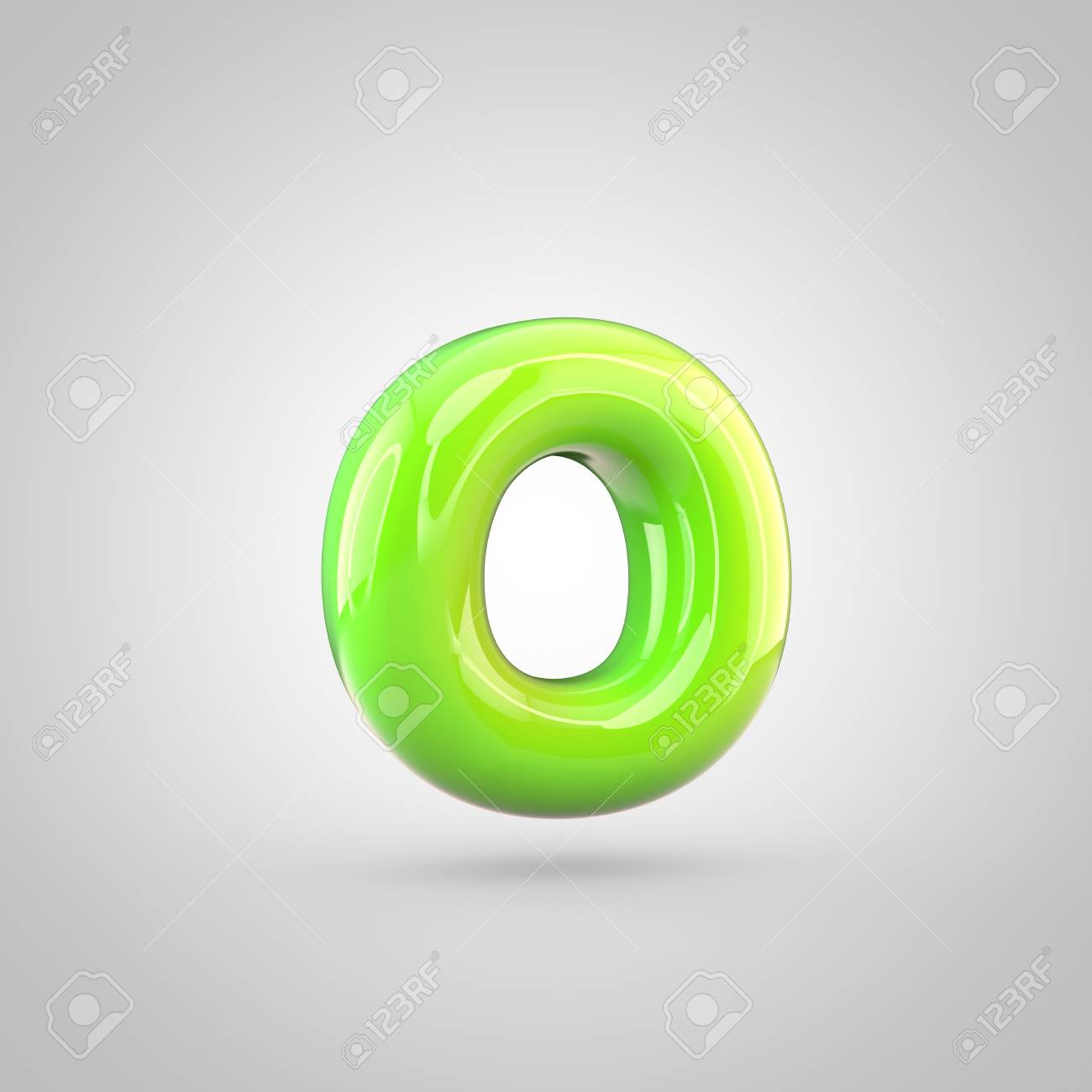 Glossy Lime Paint Alphabet Letter O Lowercase 3d Render Of Bubble