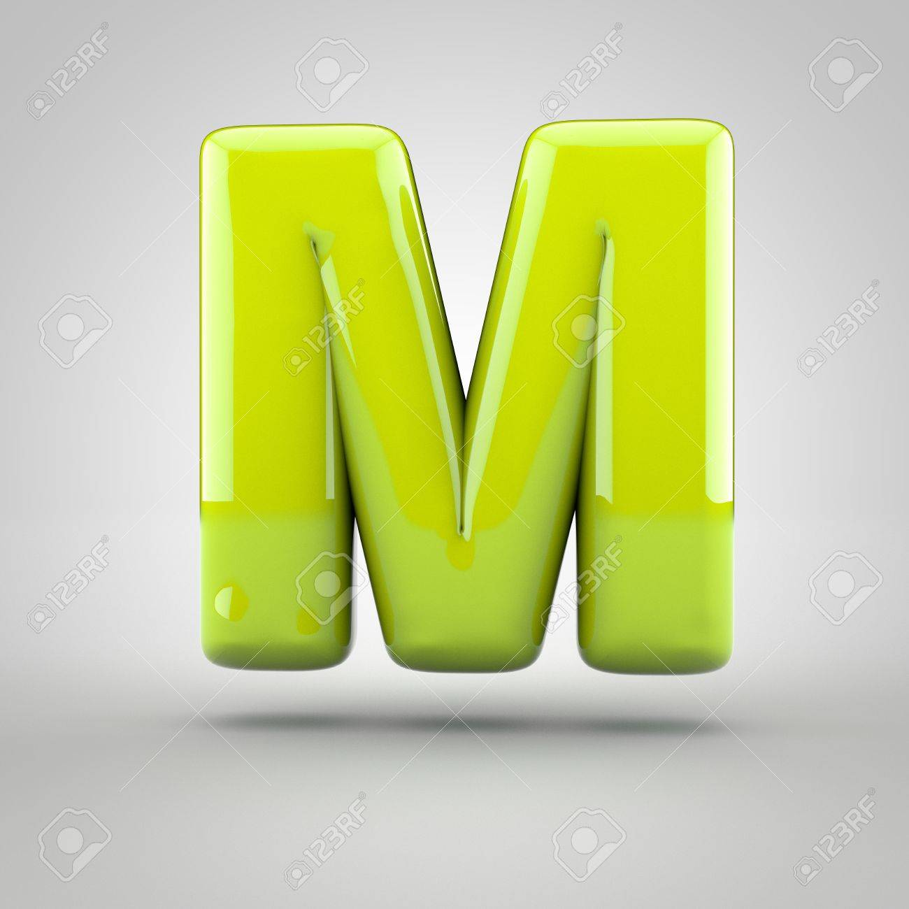 glossy lime paint letter m uppercase 3d render of bubble font with glint isolated on