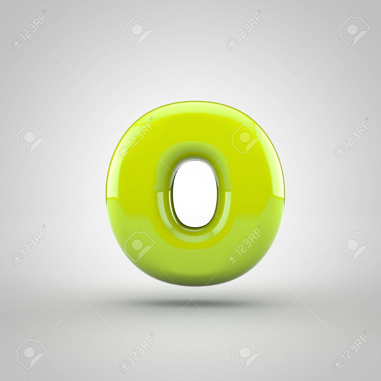 glossy lime paint letter o lowercase 3d render of bubble font with glint isolated on